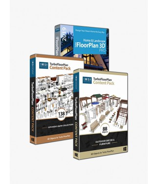 TurboFloorPlan Pro 2019 bundled with Kitchen and Outdoor Content Pack