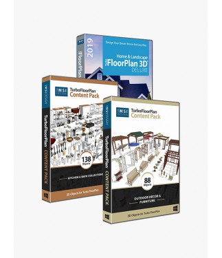 TurboFloorPlan Deluxe 2019 bundled with Kitchen and Outdoor Content Pack
